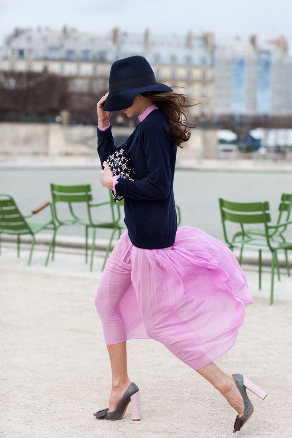 pink skirt, navy cardigan and hat. Gray heels. Fashion