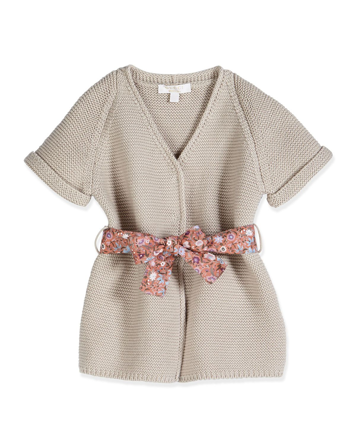 Gucci Short-Sleeve Belted Cardigan, Shell Pink, Size 3-36 Months ...
