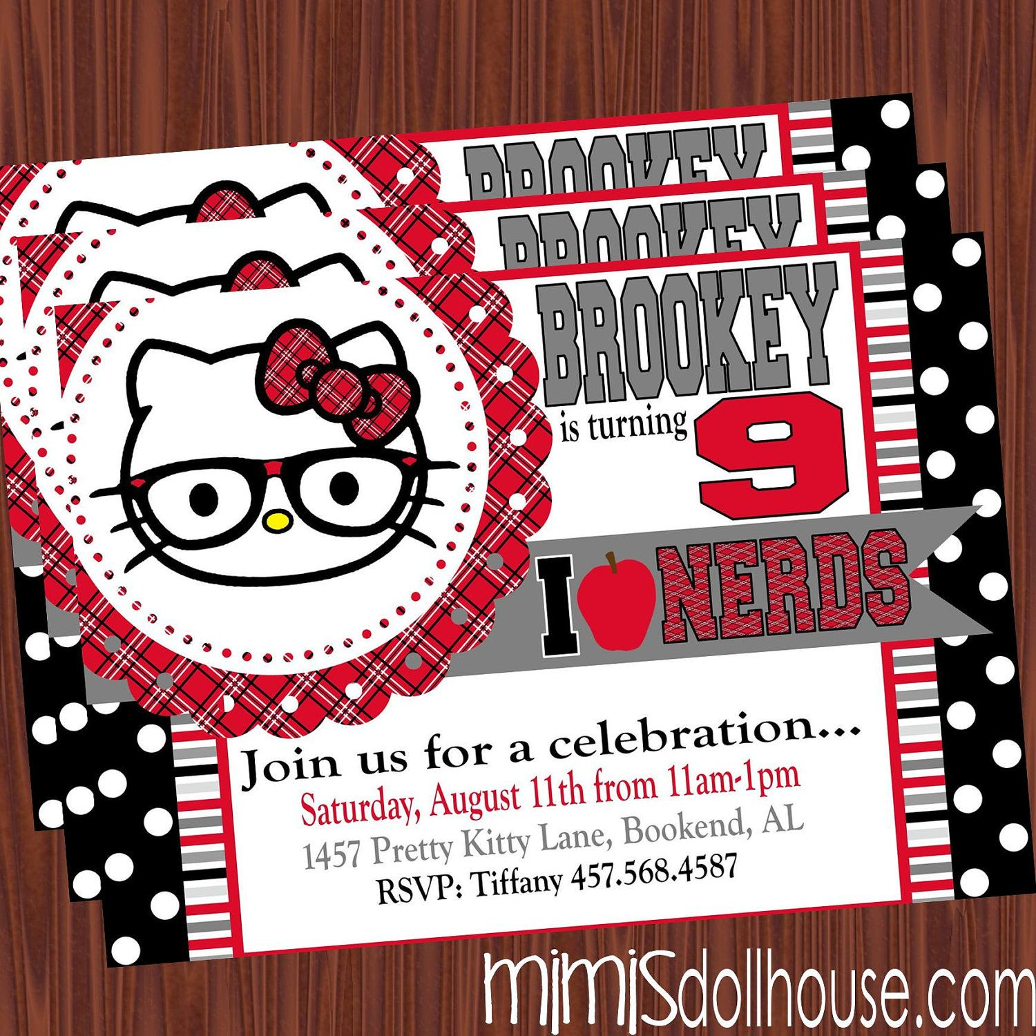 nerd hello kitty invitation printable nerd hello kitty birthday nerd hello kitty invitation printable nerd hello kitty birthday party invitation pdf jpeg