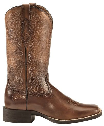 7b88cb08674 Ariat Rich Brown Round Up Remuda Cowgirl Boots - Square Toe | Shoes ...