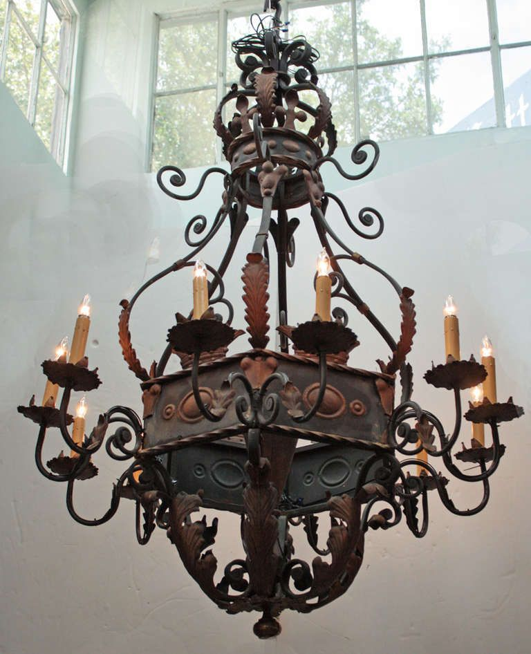 Large Wrought Iron Chandelier With Images Iron Chandeliers