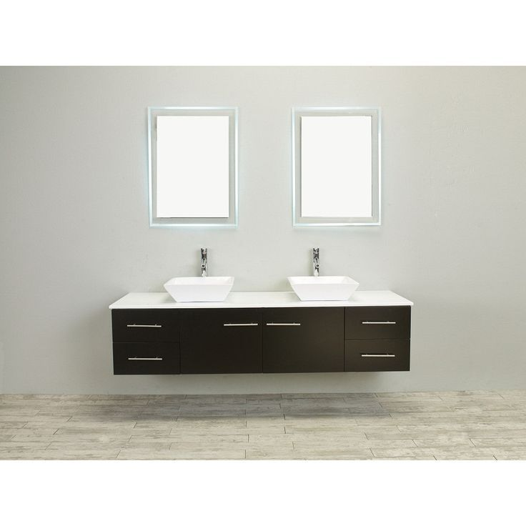 Totti Wave 60 Inch Espresso Modern Double Sink Vanity With Counter