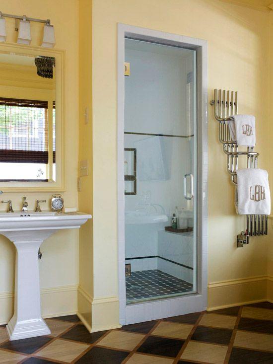 Bathroom Nook walk-in shower ideas | bathroom designs, nook and white tiles