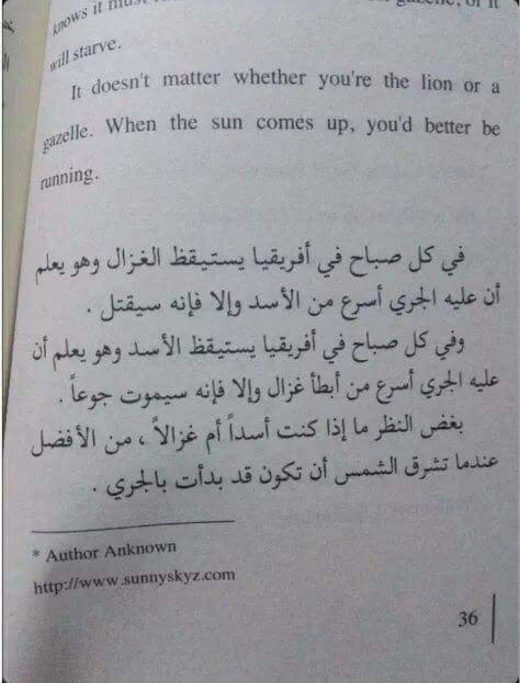 بغض النظر اذا كنت اسدا ام غزالا من الافضل عندما تشرق الشمس ان تكون قد بدأت بالجري Words Quotes Book Quotes Quotes