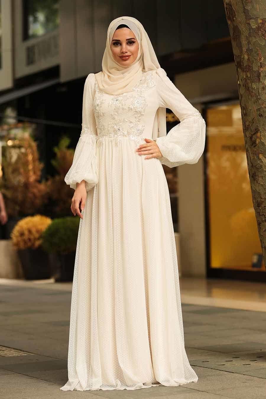Tesetturlu Abiye Elbise Dantel Detayli Ekru Tesettur Abiye Elbise 3908e Tesetturisland Com The Dress Elbise Aksamustu Giysileri