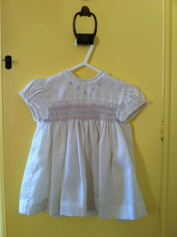 Vintage Baby Girl smocked & hand embroidered Dress by SalvagePatch, $8.00