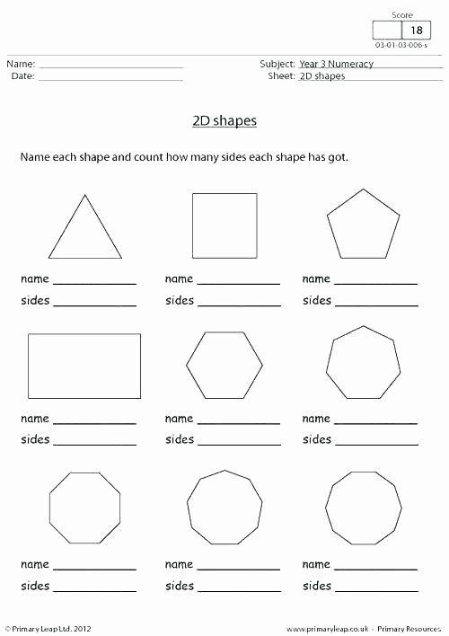 2d Shapes Worksheet Kindergarten Learning Shapes Sides and