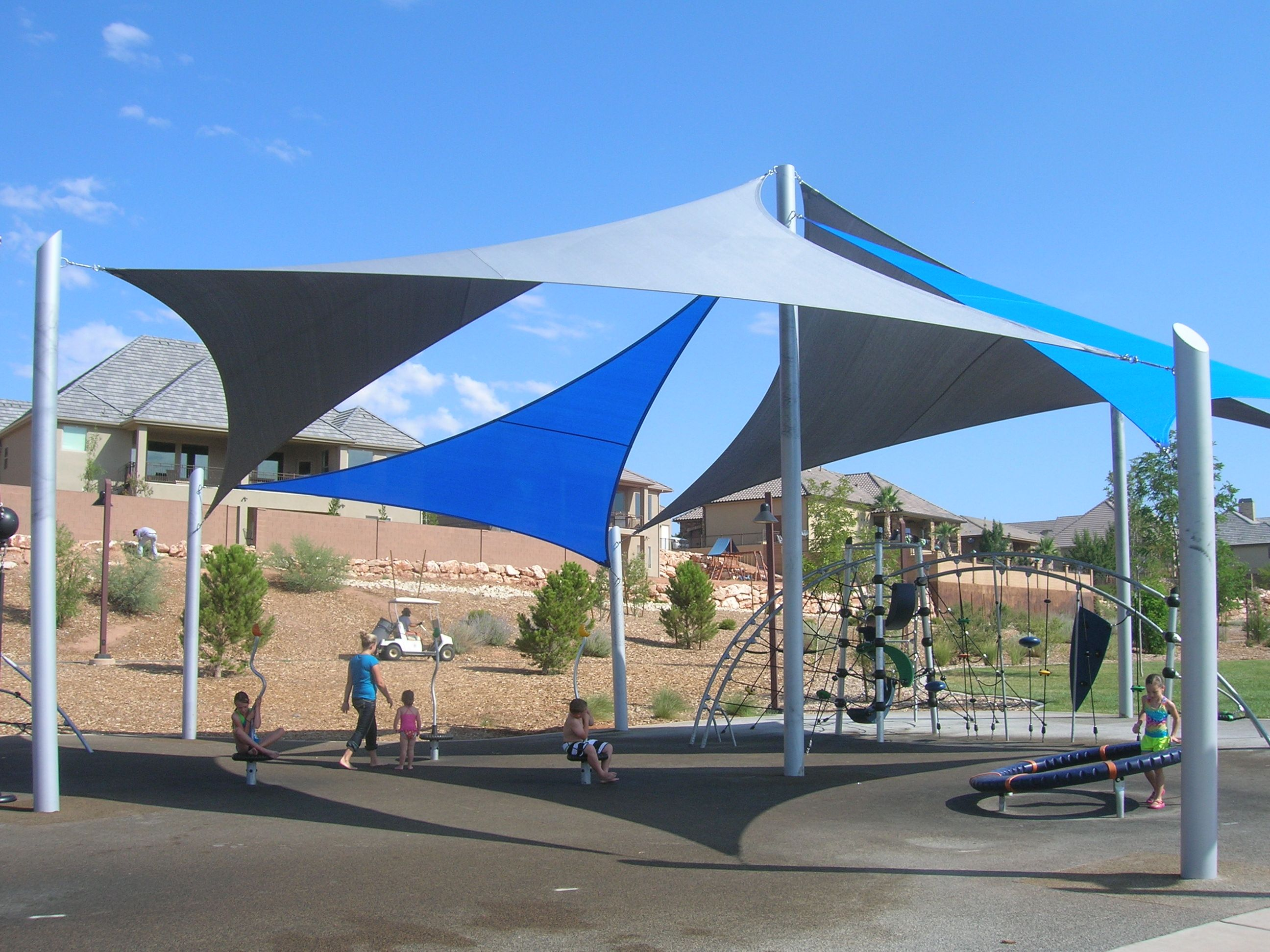 Shade sails fields park st george ut wicked shade for Sun shade structure