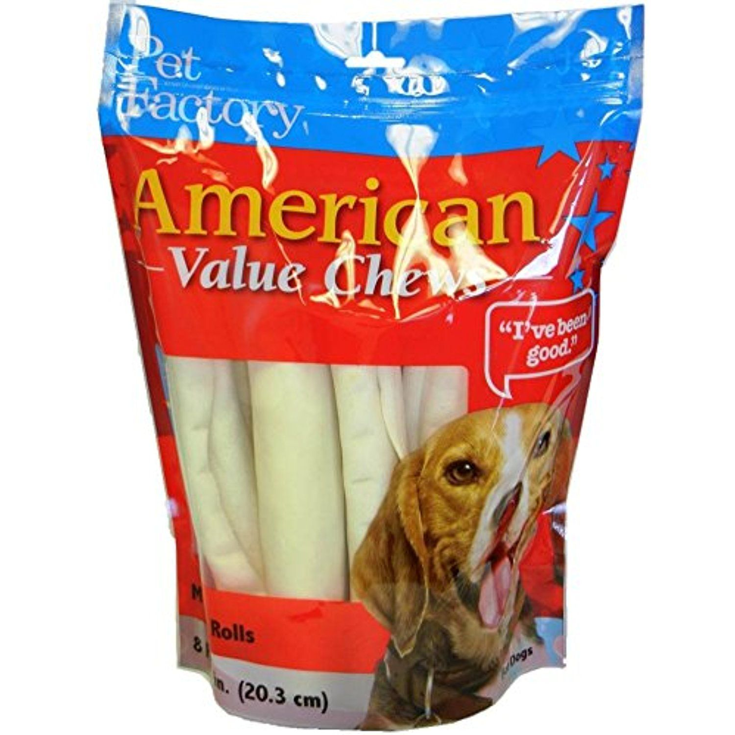 Pet Factory American Beef Hide Rolls Chews For Dogs 8 Pack