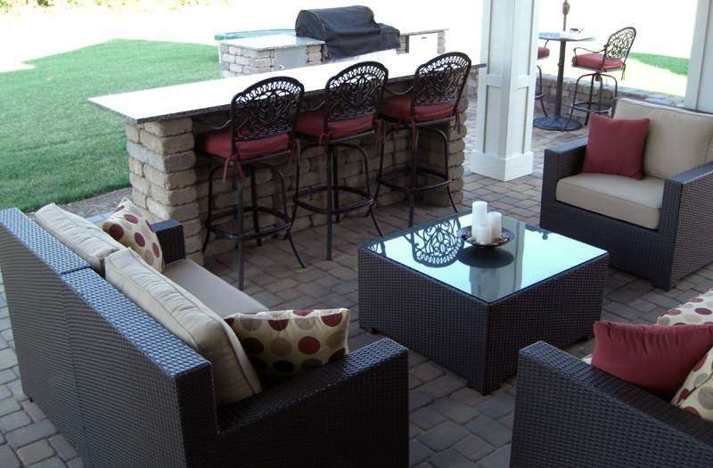 paver patio designs with bar