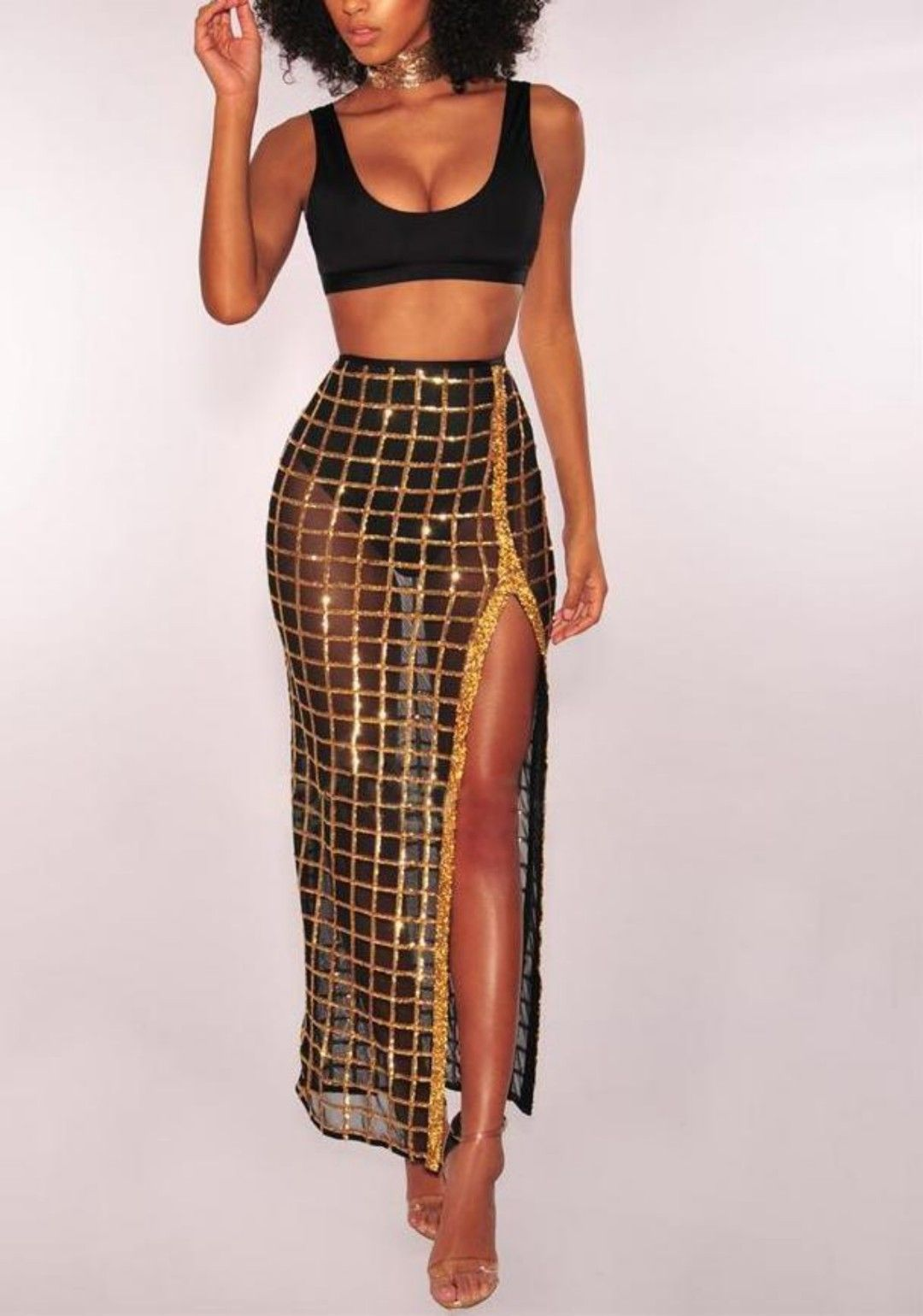 2 Piece Crop Top And High Split Glitter Skirt Dress With Images
