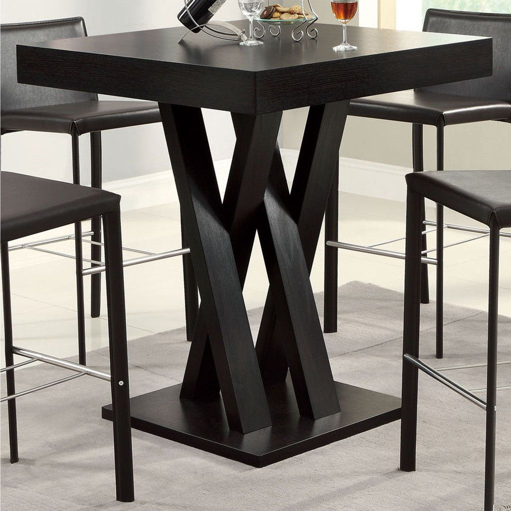 Modern Wooden Cappuccino Classic Dining Table Cross Legs Square Bar 40 High Dining Table Square Dining Tables Bar Height Dining Table