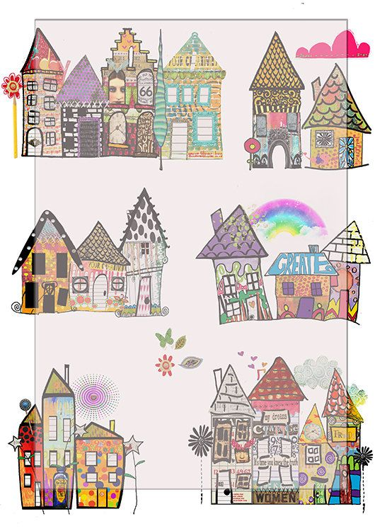 Whimsical Houses Scrapbook Journal Art By Lilymelba1 On Etsy 3 35 Whimsical Art Art Journal Scrapbook Journal