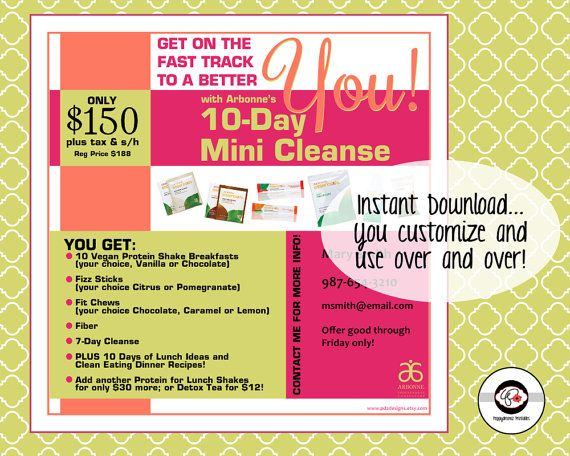 10-Day Arbonne Mini Cleanse Instant Download Digital Flyer AND Quick Guide  Booklet Healthy Living Detox Arbonne Discount Package