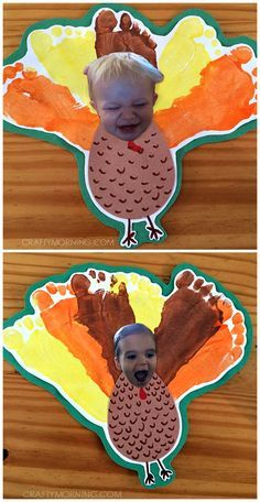 silly personalized footprint turkey thanksgiving craft for kids