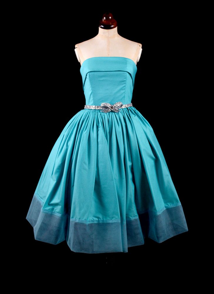 Tiffany Blue Strapless 1950s Style Cocktail Dress | Alexandra King - Vintage Inspired Dresses