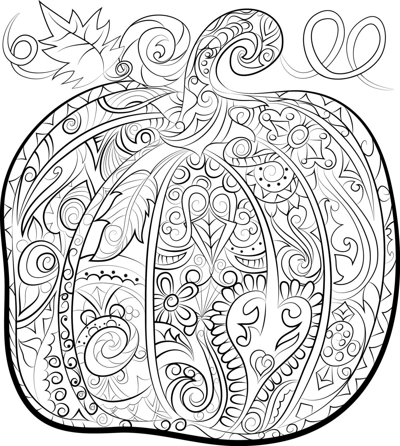 Pumpkin Adult Colouring Page