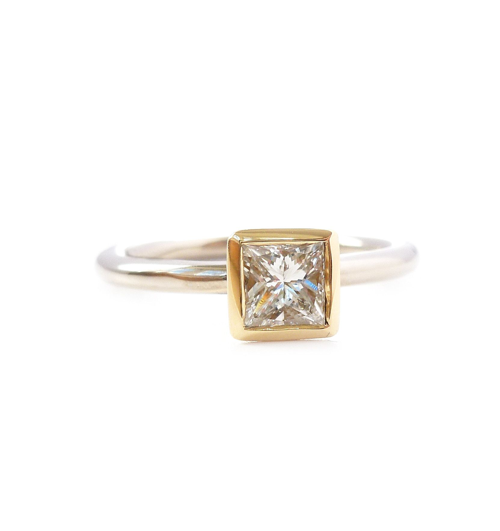 794ed15bd Contemporary, bespoke and modern 18k yellow gold square princess diamond  engagement ring, commitment ring, matt brushed finish. Handmade by Sue Lane  in ...