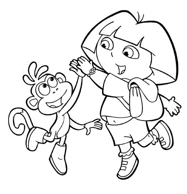 Dora And Boots High Five In Dora The Explorer Coloring Page Netart Birthday Coloring Pages Dora Coloring Coloring Pages