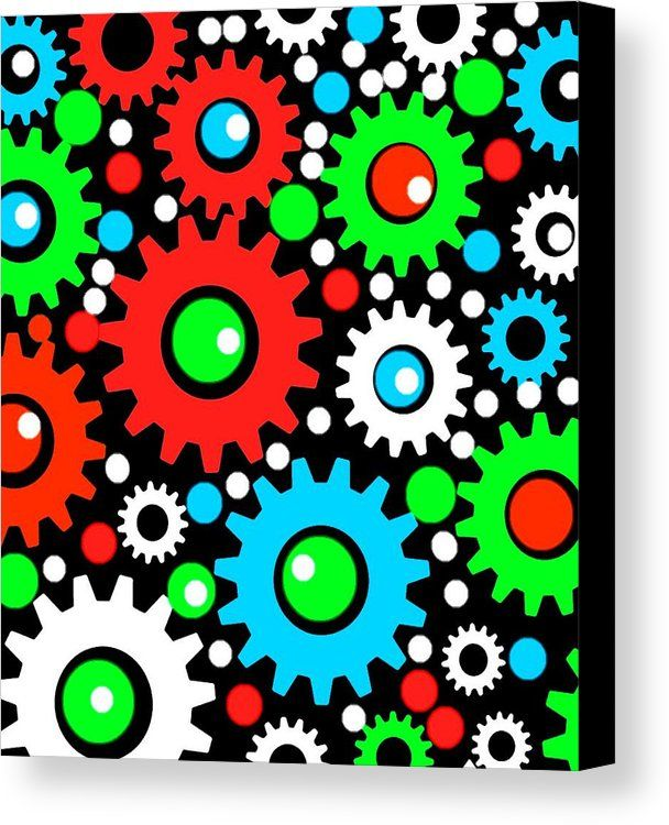 Abstract Canvas Print featuring the mixed media Gears-2 by Otis Porritt