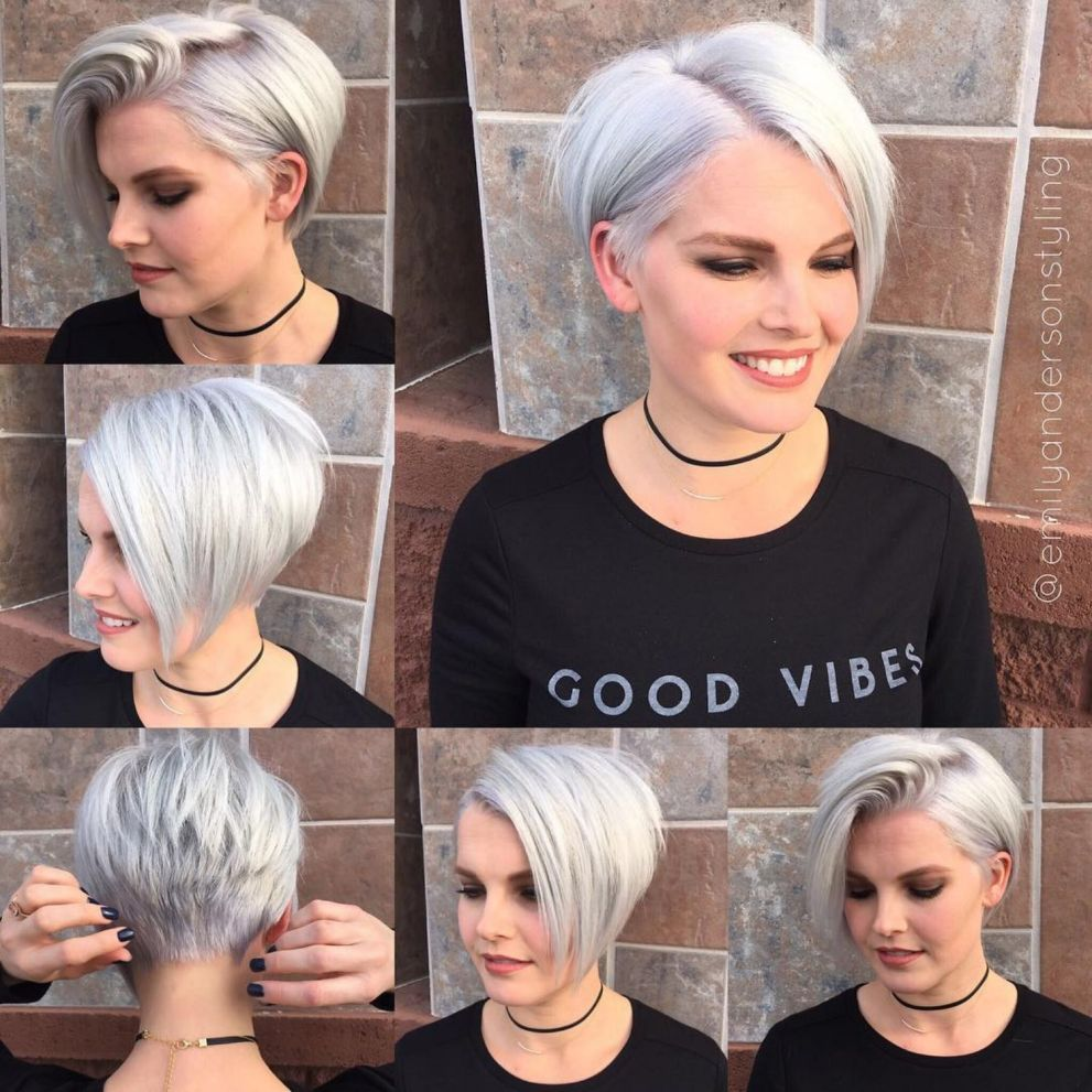 24 Fabulous Silver Blonde Pixie Bob Hairstyles For Round Faces Round Face Haircuts Hair Styles