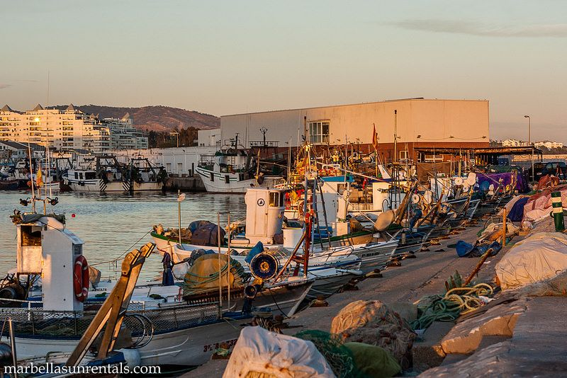 Small fishing boats in row in fishing port Marbella sunset