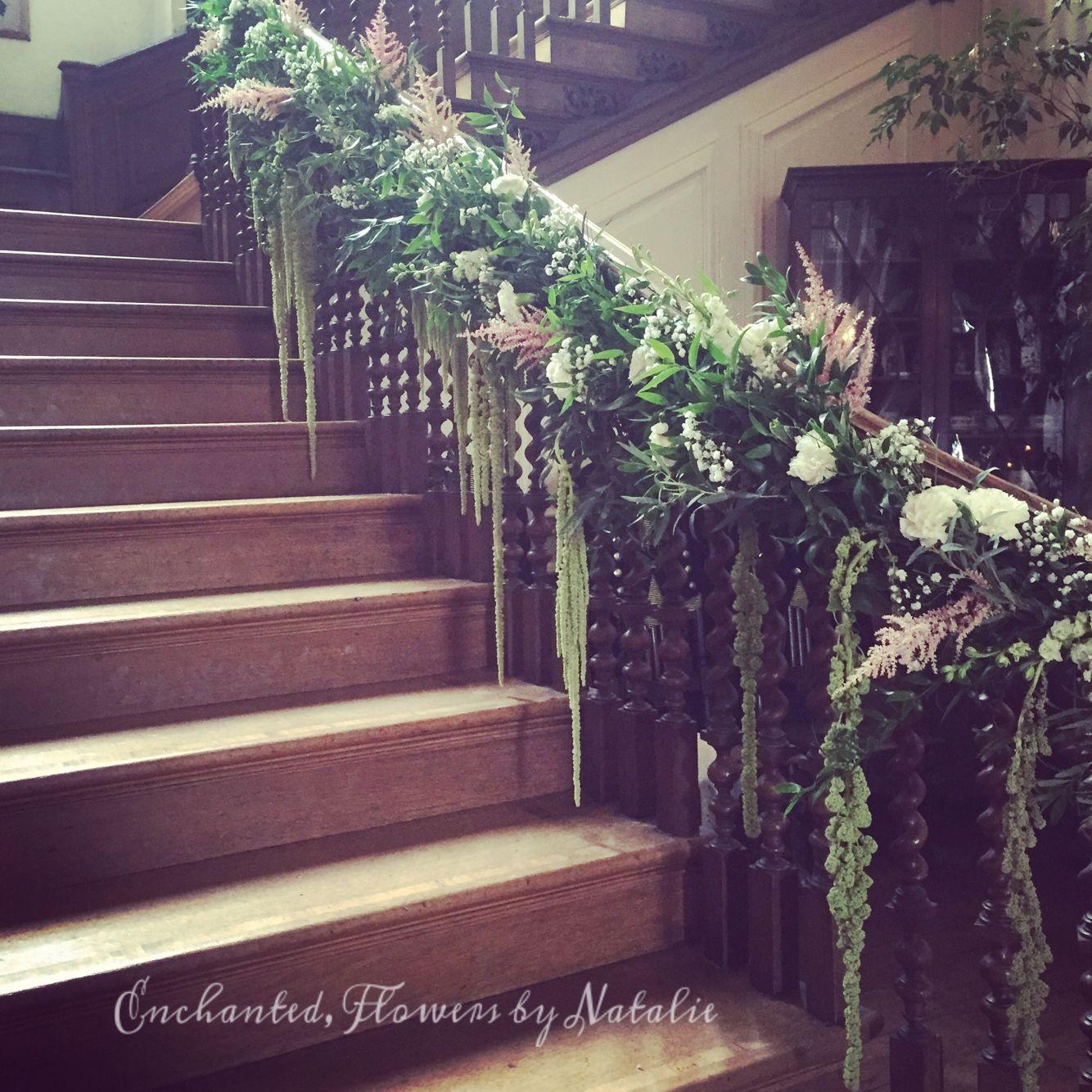 Wedding Flowers Suffolk: Grand Wedding Staircase At Glemham Hall, Pinks & White