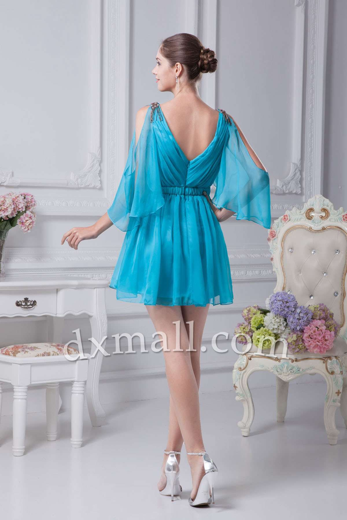 A-line Wedding Guest Dresses V-neck Short/Mini Chiffon Blue ...