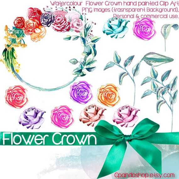 Flower Crown 14 Png Images With Transparent Background 300 Etsy Paper Clip Art Flower Crown Handmade Art
