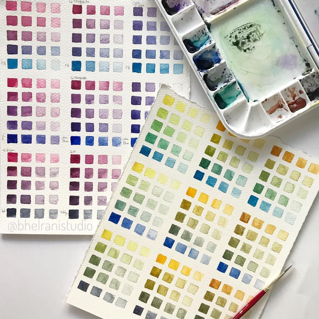 Using Only 6 Colours These Watercolour Swatch Charts