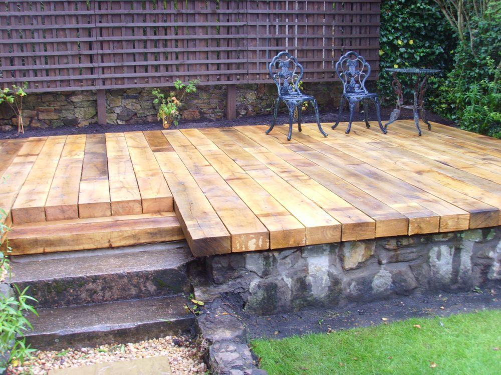 Scottish deck with new oak railway sleepers bits for Garden decking sleepers