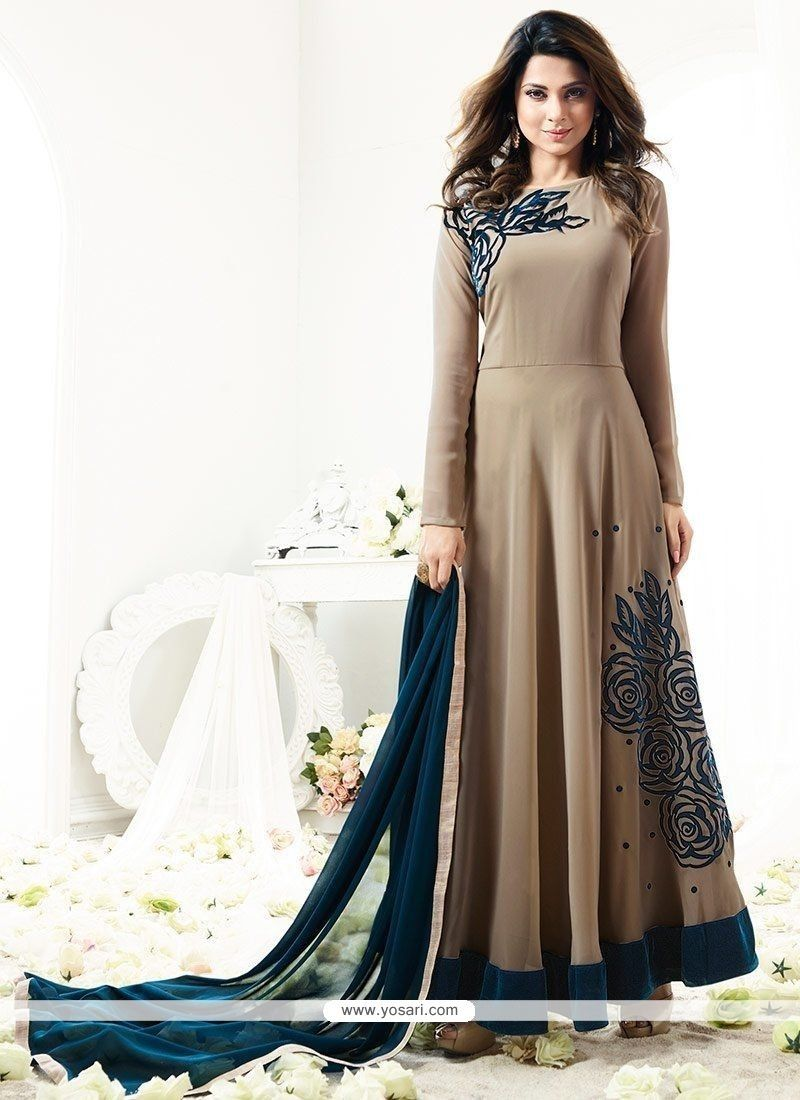 03a7ee4f6e Buy Jennifer Winget Beige And Teal Faux Georgette Floor Length Anarkali  Suit Online from India at yosari.com . Model  YOS11320