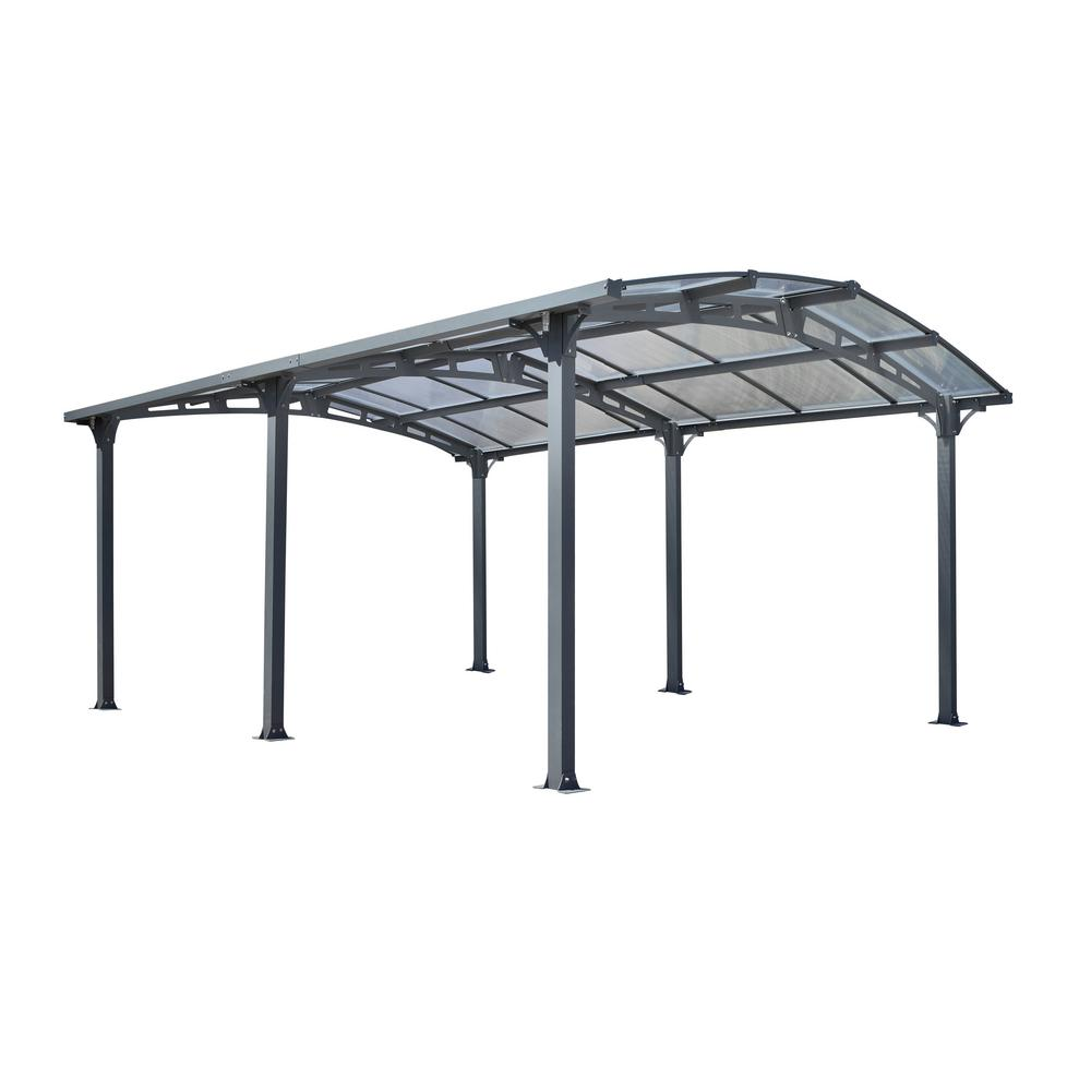 Null Acay 11 Ft 8 In X 14 Ft 10 In X 7 Ft 9 In Clear Roof Powder Coated Aluminum And Steel Carport Carport Modern Outdoor Structures Steel Trusses