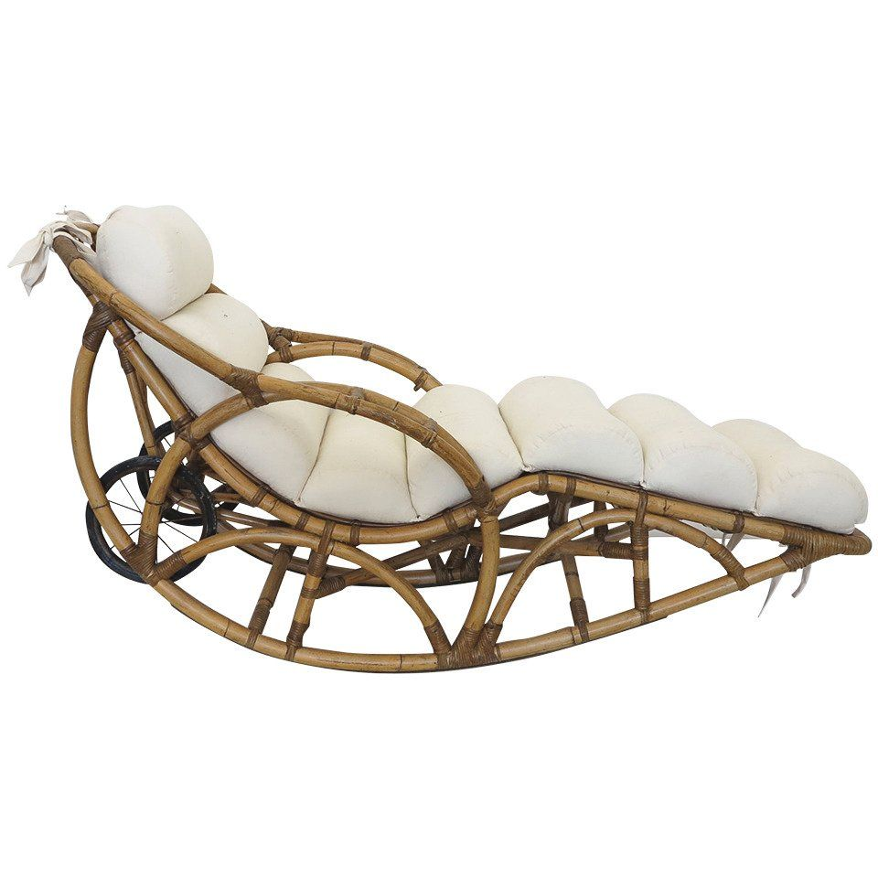 Vintage Rattan Chaise Lounge Rocking Chair Circa 1930s At 1stdibs Chaise Lounge Bamboo Decor Wicker Furniture