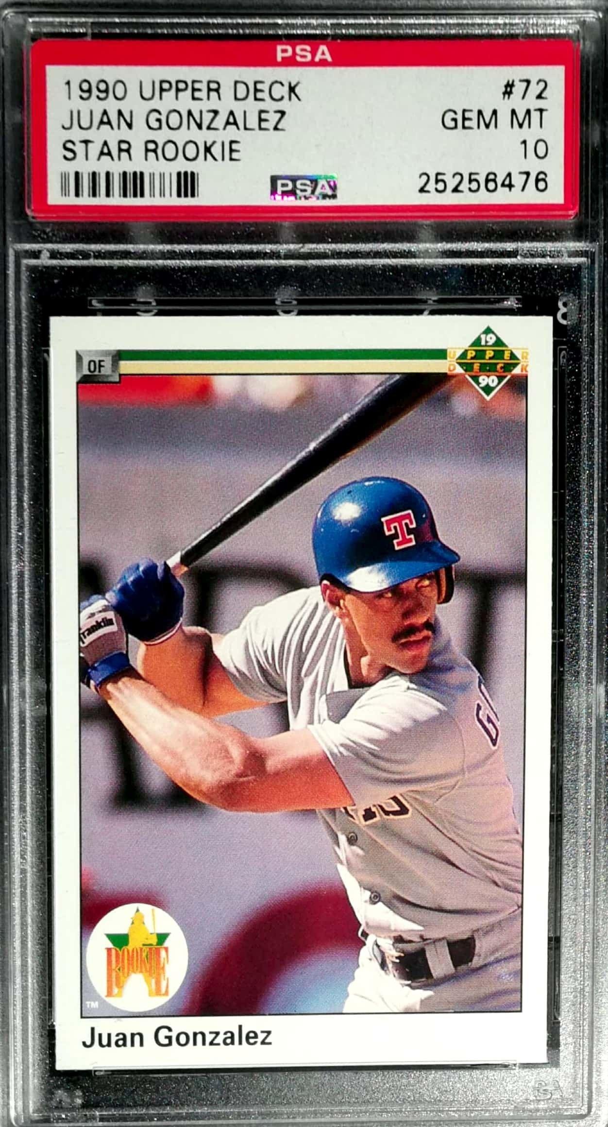 1990 Upper Deck Juan Gonzalez Psa 10 Psa Rated Baseball