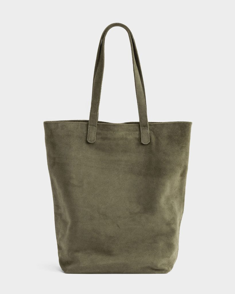 144 Baggu Leather Basic Tote in olive green suede  2473e8157333e