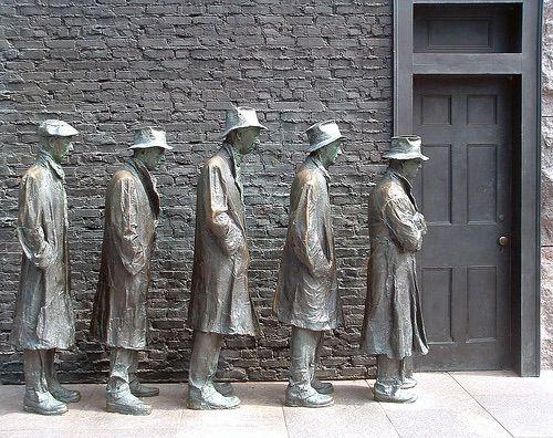 A representation of the Depression bread line at FDR memorial