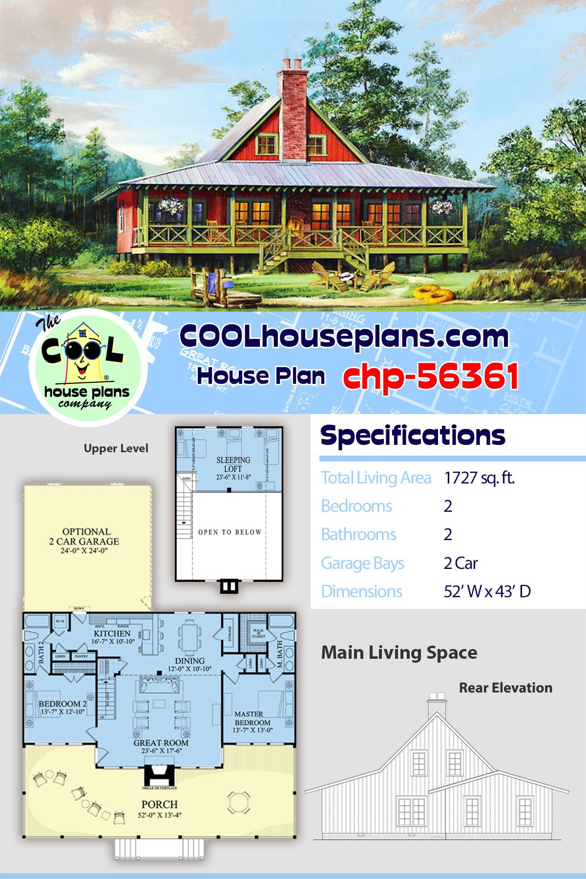 Southern Style House Plan 86202 With 2 Bed 2 Bath 2 Car Garage Cabin Plans Southern Style House Plans Cabin House Plans