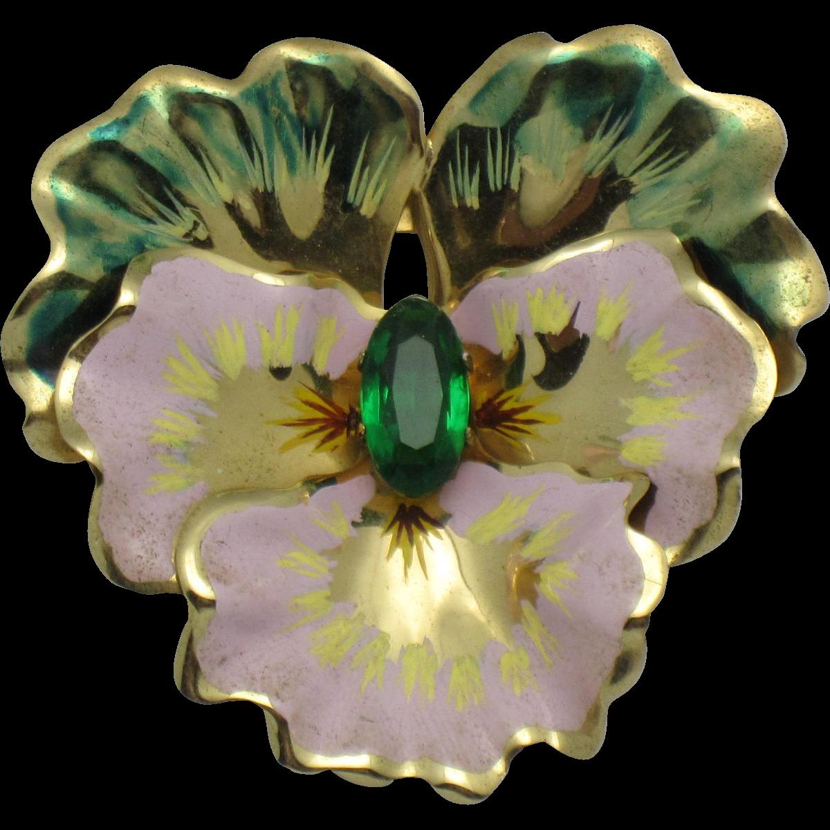 CORO Sterling Vermeil Figural Pansy Flower Brooch Vintage 1940s