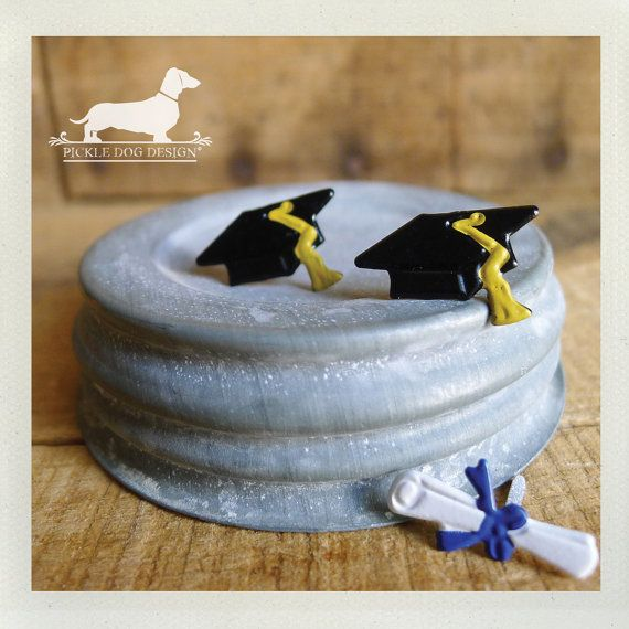 Cap and Gown. Post Earrings -- (Graduation, Black, Class of 2013, Congratulations, Grad, High School, College, Diploma, Gift for the Grad)