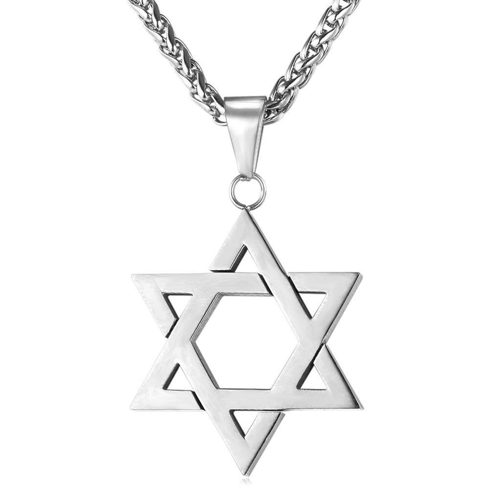 Jewish  Star of David Pendant Charm Alloy Chain Necklace Women Men Jewelry