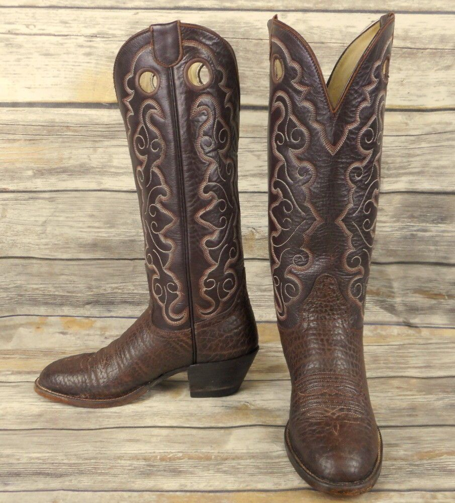 78695bd9a59 Hondo Cowboy Boots Brown Leather Womens Size 6 B Vintage Cowgirl ...