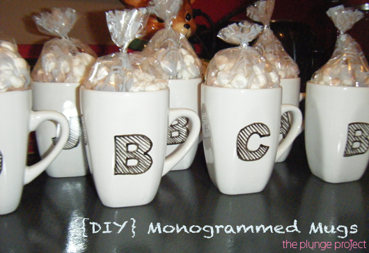 Last Christmas, I tried to get creative with stocking stuffers to build out gifts inexpensively and from the heart. One of the projects I created were these simple yet cute monogrammed mugs (which I then stuffed with hot coco and marshmallows). As cooler weather continues to rush in, I wanted to share the idea, because I think they work perfectly as stocking stuffers, cool weather wedding favors, hostess gifts for all those holiday parties, or simply to enjoy your own warm beverages in at ho