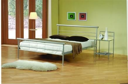 Contemporary Silver Metal Bedroom Set