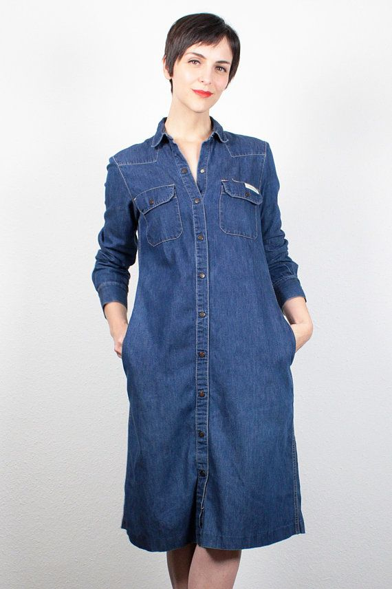 Vintage 1980s Calvin Klein Dress Midi Dress Classic Blue Jean Dress