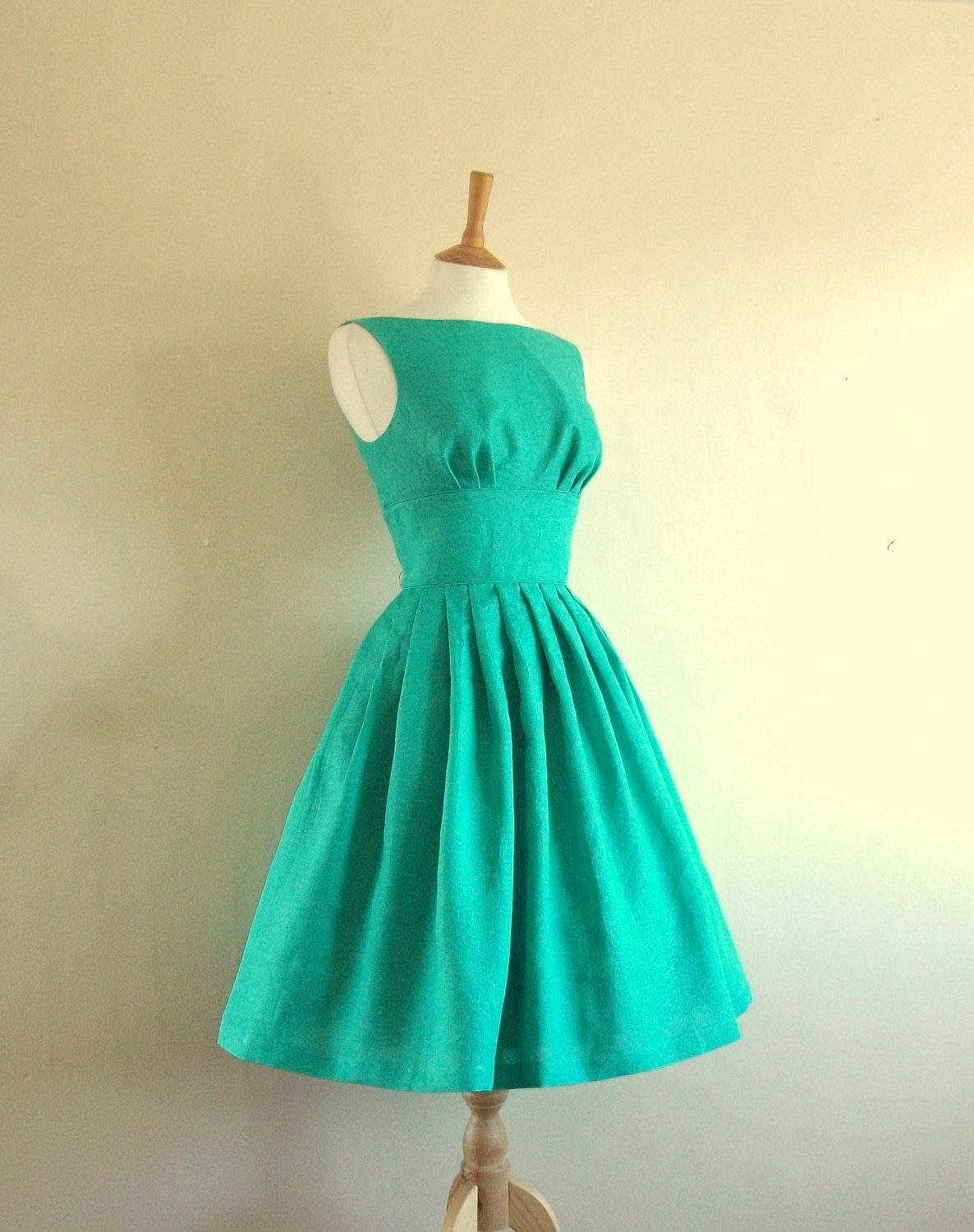 Jade Green Linen Tiffany Prom Dress - made by Dig For Victory ...