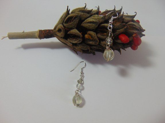 Wire Caged Earrings - my5grandsdesigns. Acrylic beads, artistic ...