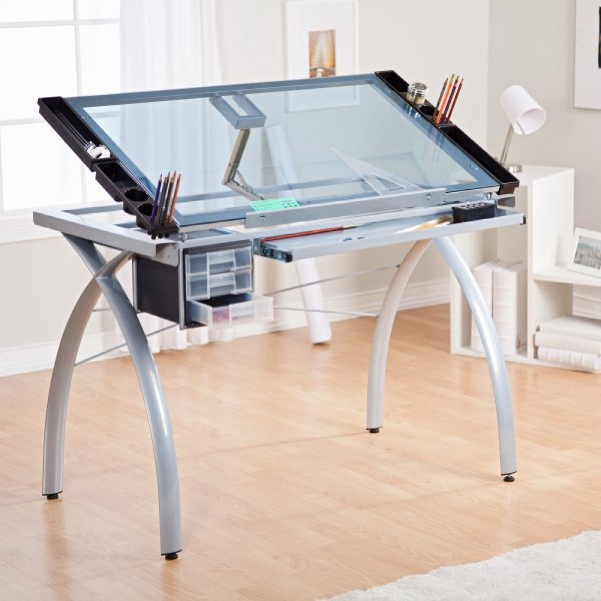 Office chair for drafting table - Studio Designs Glass Top Futura Drafting Table