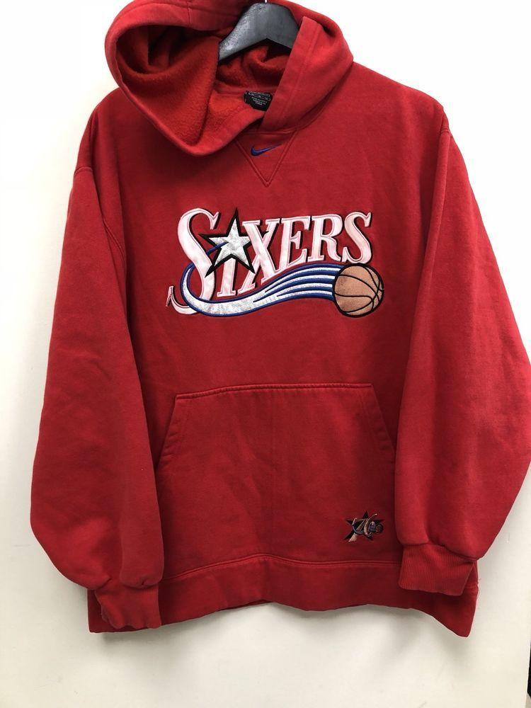 Nike NBA Philadelphia 76ers Hoodie Red M Nice!Warm Free Shipping ... e8b834385