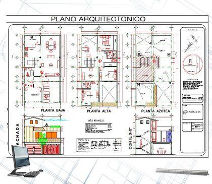 Plano arquitect nico arquitectura pinterest for Planos de arquitectura pdf